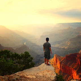 sunset in Grand Canyon by Nguyen Kien - People Street & Candids ( sunset, man standing, yellow, light, grand canyon )