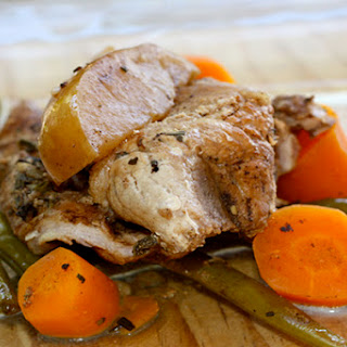 Balsamic Glazed Pork with Apples, Green Beans, and Carrots.