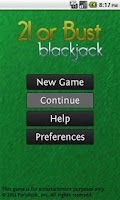 Screenshot of 21 or Bust Blackjack