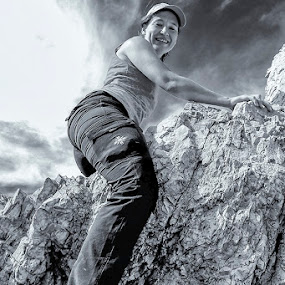 riding mountain by Costin Mugurel - Black & White Portraits & People ( climbing, mountain, black and white, people, hiking )