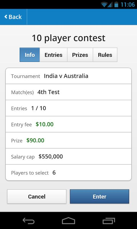 CrikPlay Fantasy Cricket - screenshot
