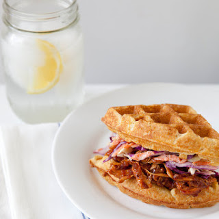 Barbecued Chicken and Waffle Sandwiches.