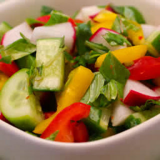 Radish and Cucumber Salad with Peppers and Thai Basil.
