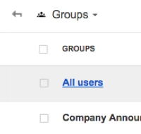 Screenshot of groups page in admin console
