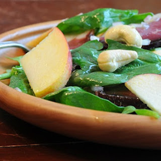 Baby Spinach Salad with Apples, Cashews and Prosciutto.