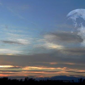 Moon by Nat Bolfan-Stosic - Landscapes Starscapes ( moon, sky, sunset, fiction, evening )