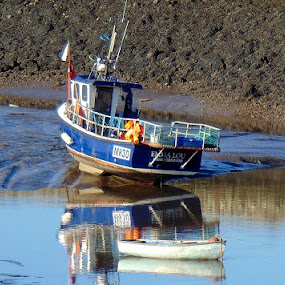 Waiting for the tide  by Ste D - Transportation Boats ( water, sand, reflection, mud, boat,  )