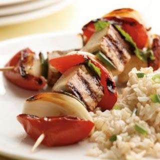 Minted Tomato, Onion & Glazed Tofu Kebabs.