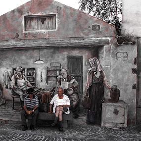 Book Ends by Ian Thompson - City,  Street & Park  Street Scenes ( ironic, tinnura, sardinia, art, mediterranean, street, irony, men, travel, mural, painting, people, , Travel, People, Lifestyle, Culture )