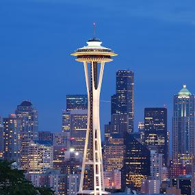 Seattle at Night by Loren Masseth - City,  Street & Park  Night ( space needle, skyline, seattle, archetecture, night, cityscape, downtown, city )