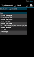 Screenshot of Refueling database