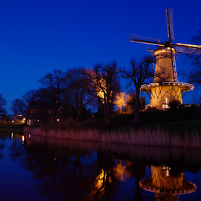 Windmill molen van Piet by Mike Bing - City,  Street & Park  Night ( alkmaar, molen van piet, blue, blue hour, cheese market, holland, windmill )