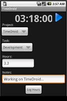 Screenshot of TimeDroid for Freshbooks