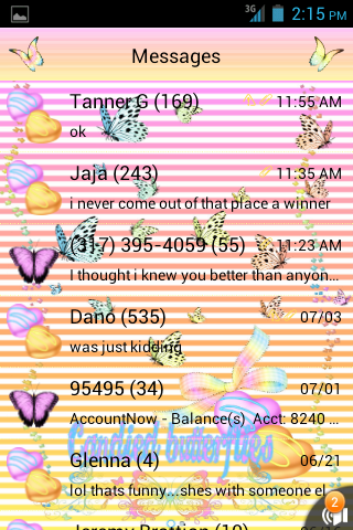 Candied Butterfly GO SMS THEME