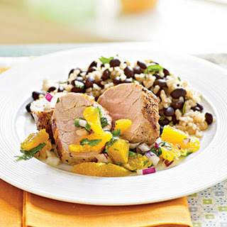 Roasted Pork Tenderloin with Orange and Red Onion Salsa.