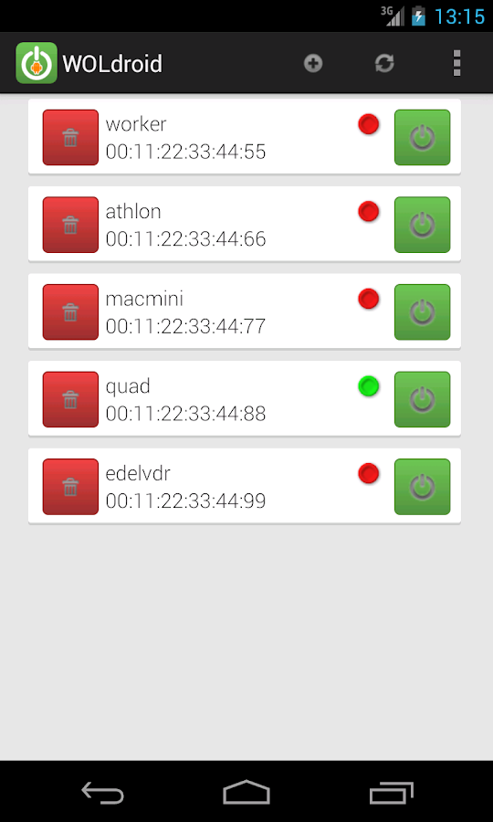 WOLdroid WOL Wake On Lan – Screenshot