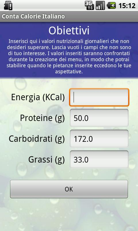 Conta Calorie Italiano DEMO- screenshot