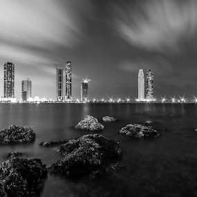 Mono Sunset  by Wissam Chehade - Black & White Buildings & Architecture ( lights, clouds, water, sky, waterscape, black and white, sunset, buildings, sea, long exposure, cityscape, rocks,  )