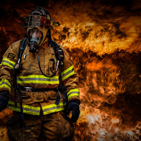 Fire Fighting by Luke Popwell - People Street & Candids ( flames, fireman, firemen, fire )