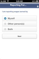 Screenshot of SSI Mobile Wage Reporting