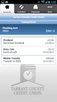 Screenshot of TCCU Mobile Banking App