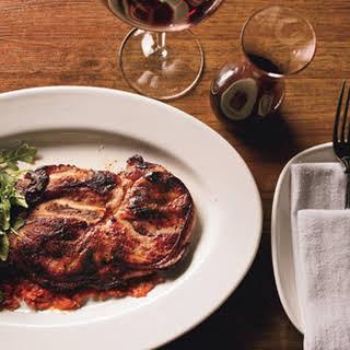 Pork Blade Steaks with Nduja and Honey and Arugula Salad.