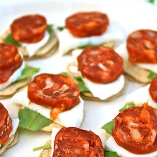 Chorizo Canapes with Mozzarella and Rocket Recipe