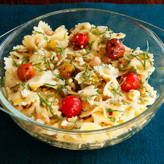 Lemon Pasta Salad with Roasted Tomatoes, Chickpeas & Feta.