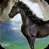 Black horse in water LWP