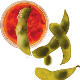 Edamame With Ginger-Chile Dipping Sauce.
