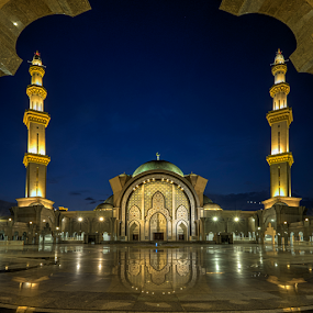 Blue Hour Sunset at Masjid Wilayah by Nur Ismail Mohammed - Buildings & Architecture Places of Worship ( muslim, prayer, masjid, hdr, minaret, islamic, sunset, mosque, place of worship, dome, decorations, masjid wilayah )