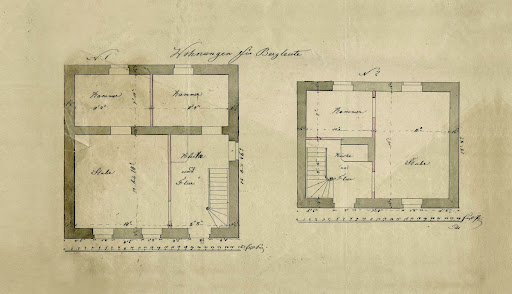 Outline of different apartments for miners, 19th century