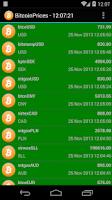 Screenshot of Bitcoin Prices