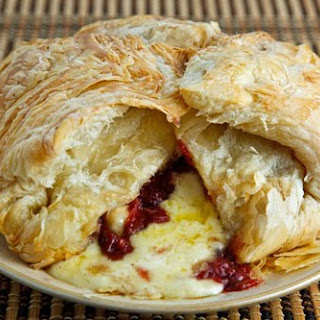 Baked Brie with Cranberry Sauce.