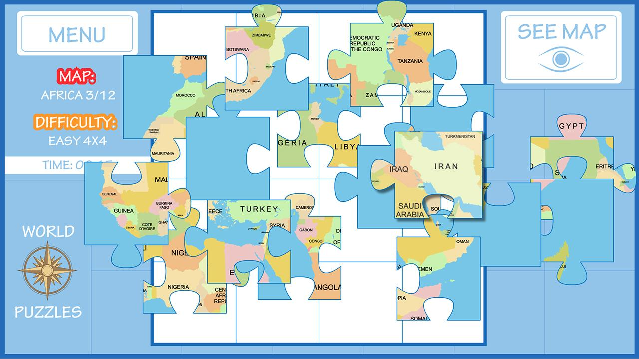 World map puzzle android apps on google play world map puzzle screenshot gumiabroncs Image collections