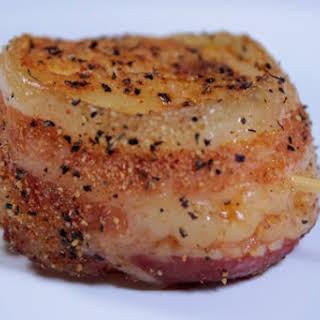 Bacon Wrapped Smoked Sea Scallops.