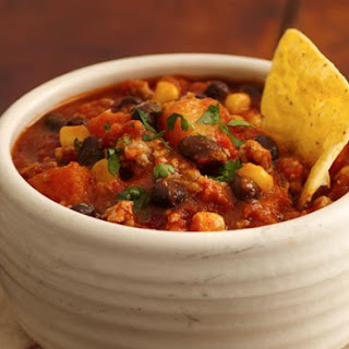 Tex-Mex Turkey Chili with Black Beans, Corn and Butternut Squash.
