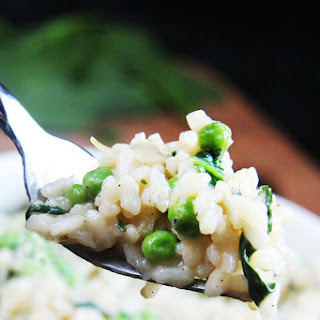 Creamy Parmesan Spinach and Pea Risotto.