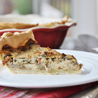 Vegan Spinach and Mushroom Quiche.