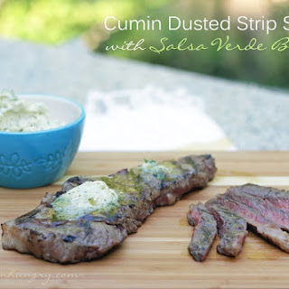 Cumin Dusted Strip Steaks with Salsa Verde Butter – Low Carb.