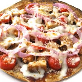 Skinny BBQ Chicken Tortilla Pizza.