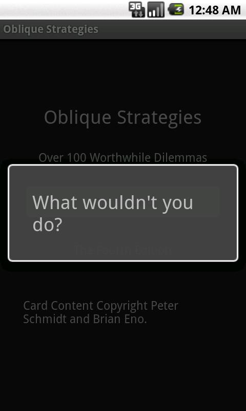 Oblique Strategies - screenshot