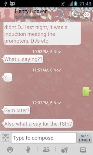 GO SMS Pink Flower Theme