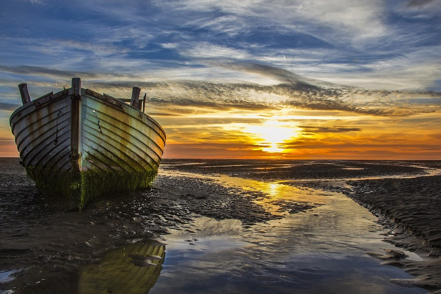 Sunset On a Dry Sea by Paweł Saj - Landscapes Sunsets & Sunrises ( clouds, water, nature, sunset, boats, yelow, cloud, sea, boat, , blue, orange. color )