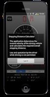 Screenshot of Stopping Distance Calculator