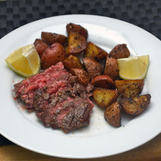 Skirt Steak with Roasted Potatoes and Lemon