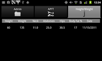 Screenshot of Army Fitness Tools