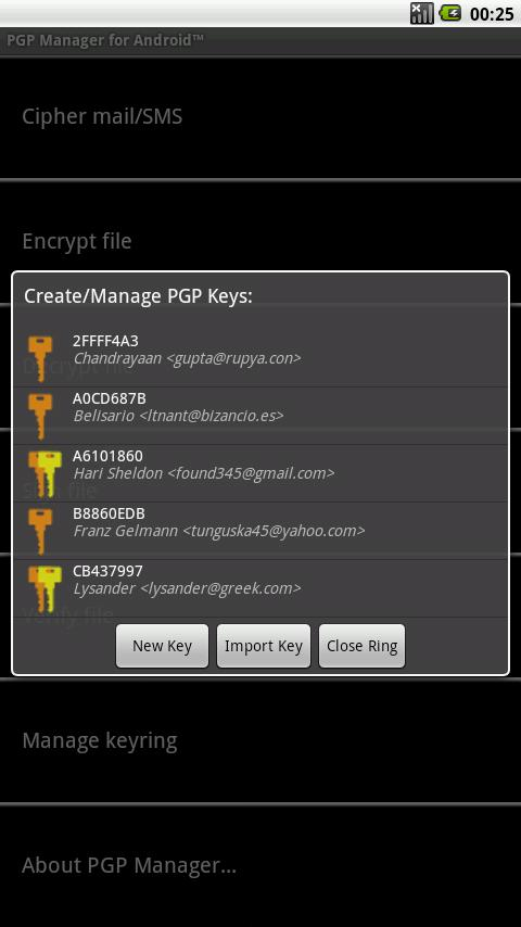 OpenPGP Manager- screenshot