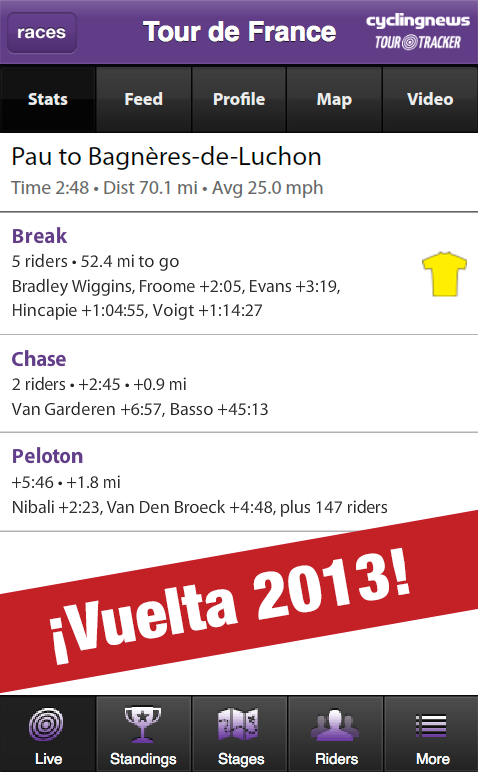 CyclingNews Tour Tracker - screenshot