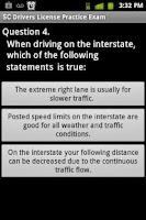 Screenshot of SC DMV Driver Exam